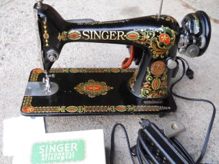 1918 Singer Red Eye Sewing Machine Serial G603966 Electric,  Serviced Buttonholer photo