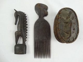 3 Tribal Artifacts Massim Statue Png African Hair Comb Sumba Indonesia Box photo