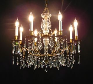 Vintage French Italian Brass Fiery Crystals 8 Light Chandelier - Large photo