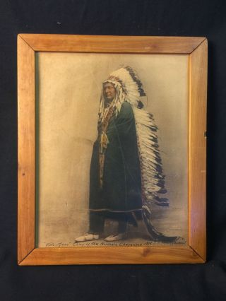 La Huffman Photo Two Moon Cheyenne Chief 1878 American Indian Tinted Photograph photo