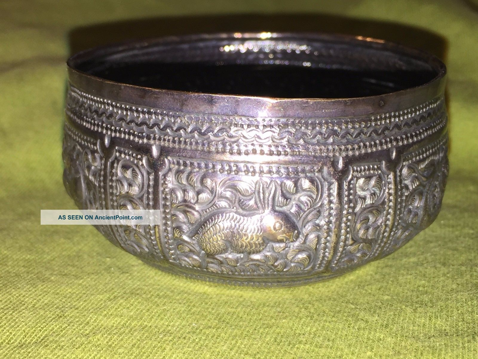 Antique Burmese Or India Hunting Scenes Silver Repousse Bowl Or Trinket Asia photo