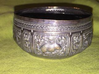 Antique Burmese Or India Hunting Scenes Silver Repousse Bowl Or Trinket photo