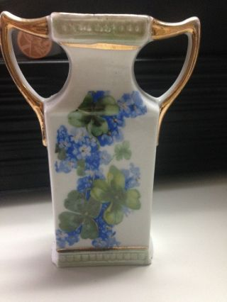 Made In Germany - Blue Flower & Clover Vase - Hand Painted Gold Trim - Vintage Find photo