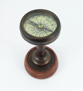 Reproduction Antique Nautical Desktop Brass Compass With Wood Stand photo