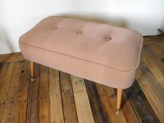 Vtg 50s Foot Stool Bed Bench Large Ottoman Midcentury Quilt Diamond Blush Modern photo