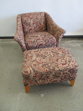 Vintage Contemporary Upholstered Lounge Chair & Matching Ottoman photo