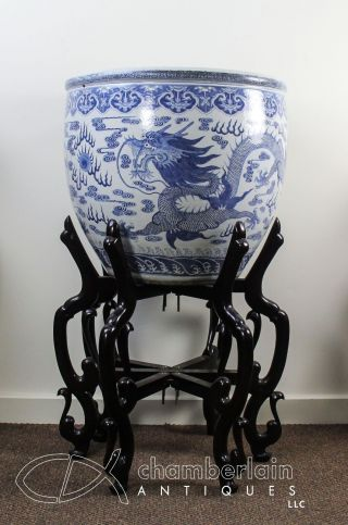 Important Huge Antique Chinese Blue,  White Porcelain Fish Bowl Planter W Dragon photo