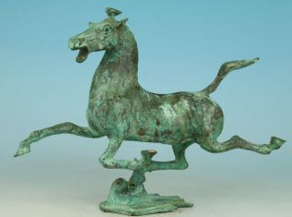 Asian Chinese Old Bronze Handmade Carved Fly Horse Figure Collect Statue photo
