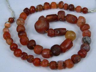 Ancient Carnelian Beads Strand Roman 200 Bc Be1949 photo
