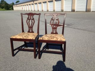 Great Vintage Chippendale Style Mahogany Side Chairs Circa 1940 ' S photo