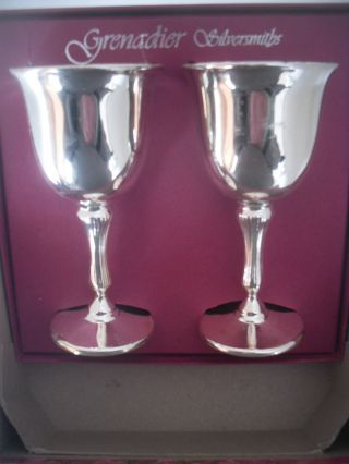 A Grenadier Silversmiths Goblets / Chalices - Wine - Boxed photo