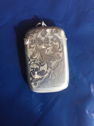 Fine Antique Sterling Silver Bright Cut Vesta Case By W H Haseler,  B/ham 1906 photo
