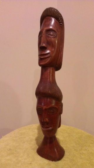 Jamaican Folk Art Wood Sculpture: Man ' S Head Fuses With Woman ' S photo