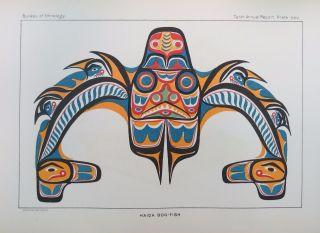 2 Antique Native American Indian Haida Dog - Fish Thunderbird Litho Prints 1891 photo