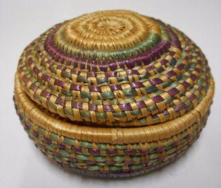 "Vtg Indian Covered Basket 3"" Purple/green Xfine Needles &more Pristine photo"