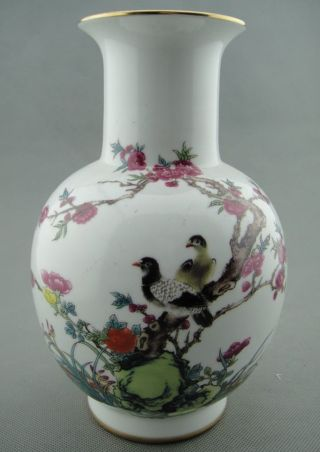 Antique China Famille Rose Porcelain Vase Painted Flower Bird Yogzheng Mark 8.  3