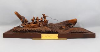 Large,  Buck Warren,  Nautical Folk Art Carved Whale,  Longboat & Sailors, photo