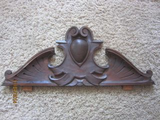 European Crest Carved Walnut Furniture Pediment Gothic Cabinet Buffet Ornate Old photo