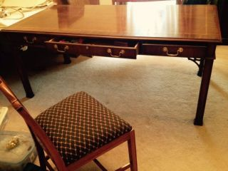 Councill Furniture Large Executive Mahogany Chippendale Banded Inlay Desk photo