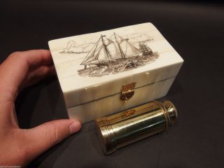 Vintage Antique Style Sail Ship Scrimshaw Bone & Wood Trinket Box W Telescope photo