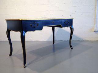 Baker Desk Table Black Gold Leather Top Insert Hollywood Regency photo