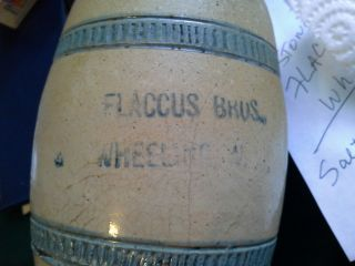 Rare Antique Salt Glazed Stoneware Flaccus Bros.  Advertising Mug Jug 1890 photo