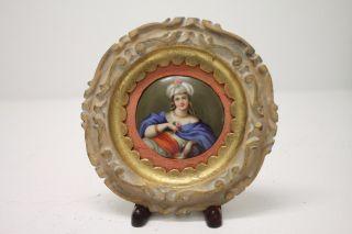 Vintage Round Handpainted Porcelain Hanging Plaque 6