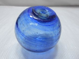 Vintage Glass Fishing Float Striking Cobalt Blue Swirls 3.  5