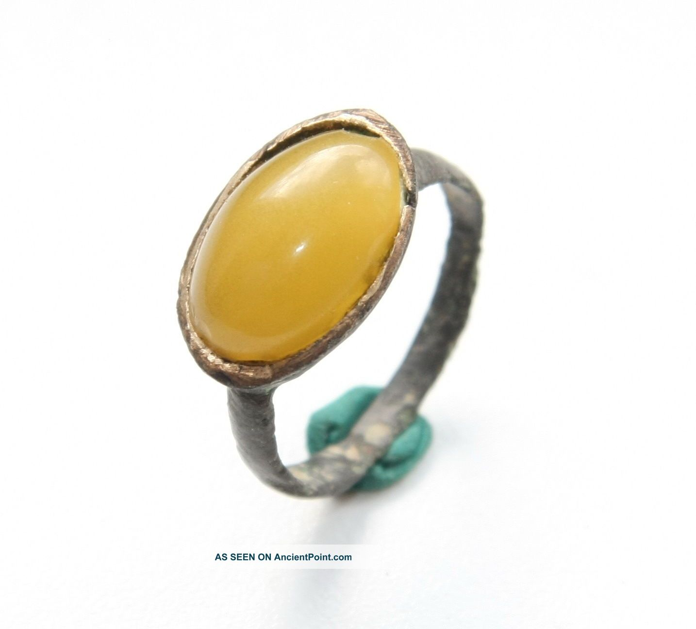 Ancient Medieval Bronze Finger Ring With Amber Inlay (sep01) South Italian photo