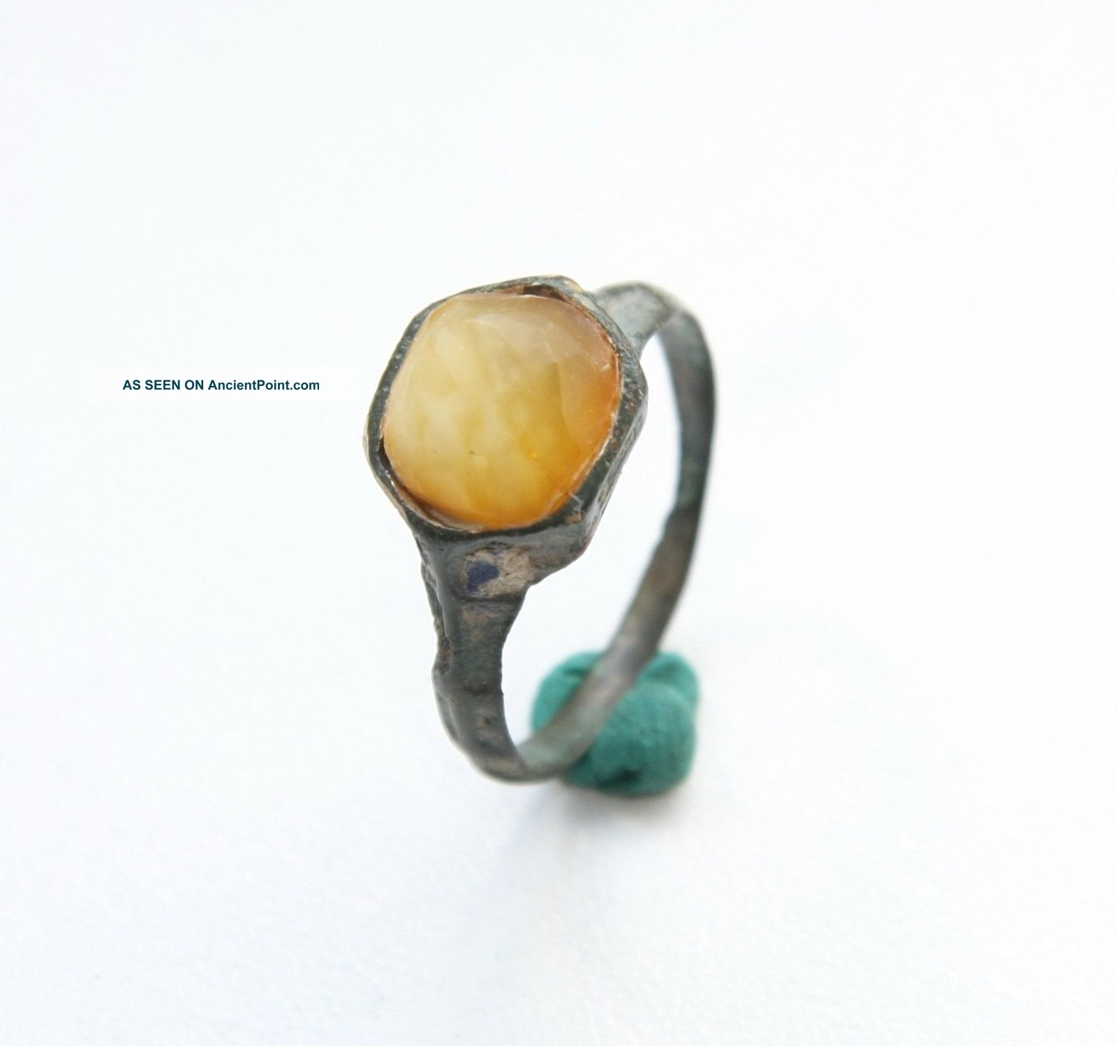 Ancient Medieval Bronze Finger Ring With Amber Inlay (sep02) South Italian photo