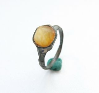 Ancient Medieval Bronze Finger Ring With Amber Inlay (sep02) photo