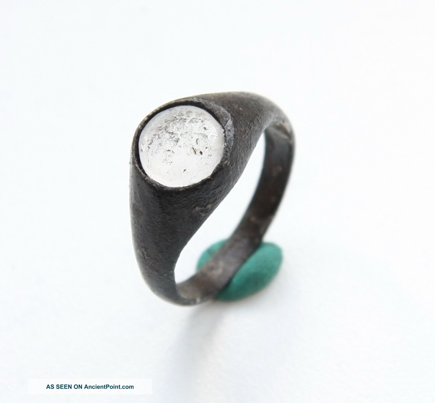 Ancient Medieval Bronze Finger Ring With White Stone Inlay (sep03) South Italian photo