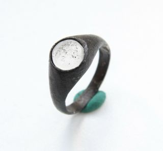 Ancient Medieval Bronze Finger Ring With White Stone Inlay (sep03) photo