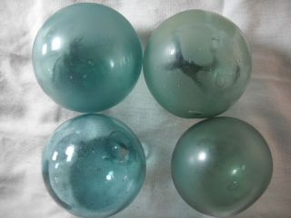 4 Vintage Uncommon Trademarked Japanese Glass Floats Alaska Beach Combed photo