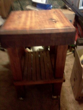 Vintage 1950s Solid Wood 100 Pound Butcher Block Table W/ Casters 32x22x22 photo