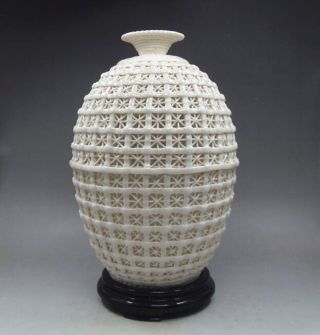 Chinese Decorated Handwork Carved Hollowed Basket Dehua Porcelain Vase photo