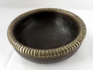Indian Old Vintage Handmade Unique Wooden Bowl With Brass Fitted Boundary photo