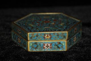 Chinese Cloisonne Wire Inlay 24k Gilt Flowers Box photo