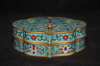 Chinese Cloisonne Wire Inlay Gilt Bats Flowers Ru Yi Figure Box photo