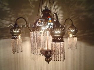 Br264 4 Shades Moroccan Jeweled Pendant Light / Lamp Chandelier photo