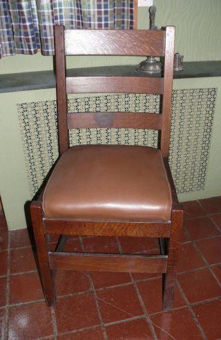 Signed Antique L& Jg Stickley Mission Oak Side Chair,  Label photo