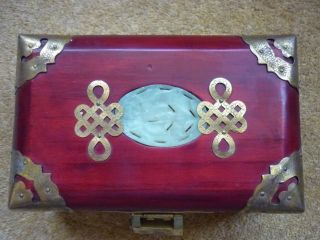 Vintage Wood Brass Overlay Chinese Jade Jewellery / Trinket Box With Lock photo