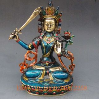 Chinese Cloisonne Carved Buddhism Statue - - - Manjushri Buddha photo