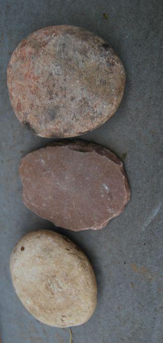 3 X Classic Old Aboriginal Grinding Stones photo
