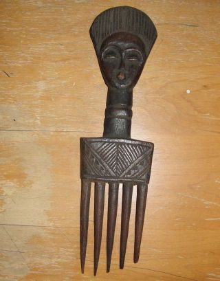 Africa Baule Ivory Coast Chokwe Statue Figure Serene Face Hairdo Hair Comb Art photo