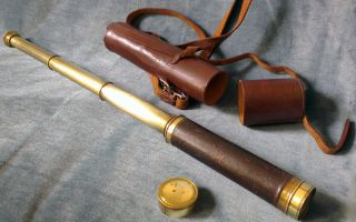 19th Century Brass 3 Draw Telescope With End Cap & Leather Case photo
