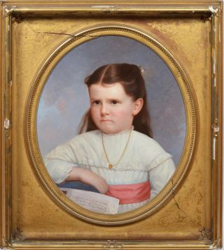 Antique American Folk Art Young Girl Portrait 19th Century Oil Painting photo