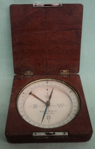 Vintage W & L.  E.  Gurley Compass Try Ny,  Wood Carry Case photo
