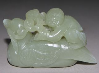 Ancient Chinese Hetian Jade Carved Jade Children Statue J060632 photo
