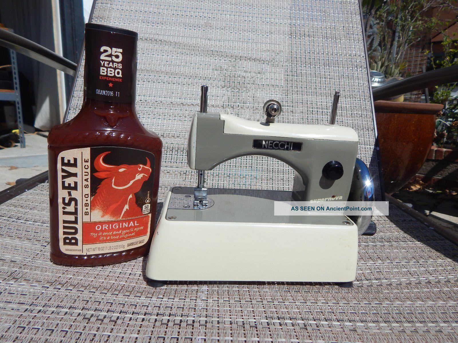 Vintage Necchi Supernova Italy Tiny Hand Crank Sewing Machine W/case Sewing Machines photo